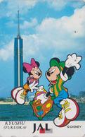 Télécarte Japon / 110-170255 - DISNEY JAL ** MICKEY & MINNIE In KYUSHU **  JAPAN AIRLINES Phonecard / Aviation Avion - Disney