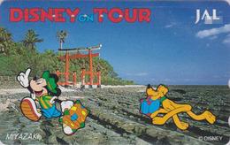 Télécarte Japon / 110-171132 - DISNEY JAL ** MICKEY & PLUTO Dog In MIYAZAKI ** JAPAN AIRLINES Phonecard - Aviation Avion - Disney