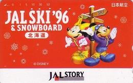Télécarte Japon / 110-011 - DISNEY JAL STORY - JAPAN AIRLINES Phonecard Mickey & Minnie Au SKI  Avion Airplane - Disney