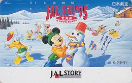 Télécarte Japon / 110-162138 - DISNEY JAL STORY - JAPAN AIRLINES Phonecard Mickey & Donald Au SKI  Avion Airplane - Disney