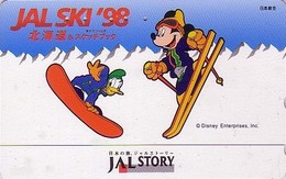 Télécarte Japon / 110-195227 - DISNEY JAL STORY - JAPAN AIRLINES Phonecard Mickey & Donald SKI  Avion Airplane - Disney
