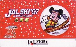 Télécarte Japon / 110-011 - DISNEY JAL STORY - MICKEY SNOWBOARD - JAPAN AIRLINES Phonecard / Avion Aviation - Disney