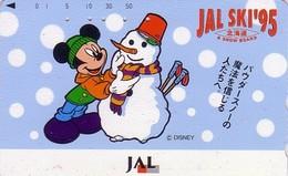 Télécarte Japon / 110-160477 - DISNEY JAL - MICKEY MOUSE & Bonhomme De Neige Snowman - JAPAN AIRLINES Phonecar - Aviond - Disney
