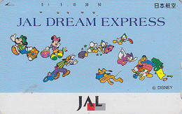 Télécarte Japon / 110-161641 - DISNEY JAL - MICKEY MINNIE Chien Dog -  Japan Airlines Phonecard - Aviation Avion - Disney