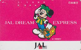 Télécarte Japon / 110-161403 - DISNEY JAL - JAPAN AIRLINES Phonecard / DREAM EXPRESS - MICKEY / Avion Airplane - Disney
