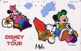 Télécarte Japon / 110-158522 - DISNEY JAL - MICKEY & MINNIE -  JAPAN AIRLINES Phonecard / Avion Aviation - Disney