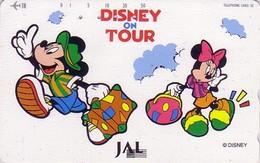 Télécarte Japon / 110-158523 - DISNEY JAL ON TOUR - MICKEY & MINNIE - JAPAN AIRLINES Phonecard - Avion Aviation - Disney