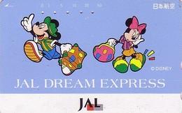 Télécarte Japon / 110-163279 - DISNEY JAL - MICKEY & MINNIE DREAM EXPRESS - JAPAN AIRLINES Phonecard - Avion Aviation - Disney
