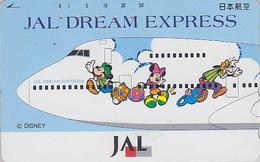 Télécarte Japon / 110-161640 - DISNEY JAL DREAM EXPRESS - MICKEY MINNIE Chien Dog JAPAN AIRLINES Phonecard - Avion - Disney