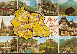 France & Circulated, Greetings From Greetings From Le Puy De Dôme, Brive-la-Gaillarde To Wurtzburg Germany 1972 (1980) - Souvenir De...