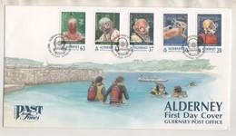 ALDERNEY 1998 - RARE 1ER JOUR ILLUSTRE PLONGEE ET SCAPHANDRIERS - VOIR LES SCANNERS - Alderney