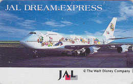 Télécarte Japon / 110-158398 - DISNEY JAL - JAPAN AIRLINES Phonecard / DREAM EXPRESS / Avion Airplane - Disney