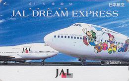 Télécarte Japon / 110-163280 - DISNEY JAL - JAPAN AIRLINES Phonecard / DREAM EXPRESS / Avion Airplane - Disney