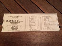 1880 Fabrique D' Espadrilles MAYTIE à TARDETS SORHOLUS Manufacture De Chaussures NIEF BOULLANGER Rue De Belzunce PARIS - Pubblicitari