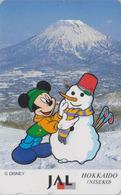 Télécarte Japon / 110-167952 - DISNEY JAL - MICKEY Mont Fuji Bonhomme De Neige  JAPAN AIRLINES Phonecard  Aviation Avion - Disney