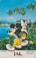 Télécarte Japon / 110-167953 - DISNEY JAL - MICKEY & MINNIE In OKUMA OKINAWA  JAPAN AIRLINES Phonecard  Aviation Avion - Disney