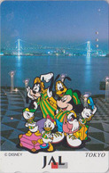 Télécarte Japon / 110-167954 - DISNEY JAL - MICKEY Neveux Chien Dog In TOKYO - JAPAN AIRLINES Phonecard  Aviation Avion - Disney