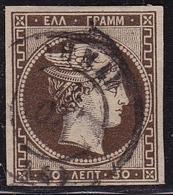 GREECE 1876 Large Hermes Head Paris Print 30 L Deep Olive Brown Fine Printing Vl. 57 A - Gebruikt