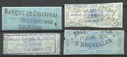 BELGIEN Belgium 1880, Revenue Tax, 4 Stamps O - Revenue Stamps