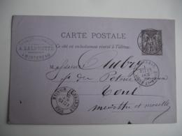 Montereau Cachet Type 18 Obliteration Sur Entier Postal Sage - Marcophilie (Lettres)