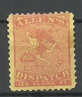 USA Ca 1880 Local Allen's City Dispatch 125 Clark Ct. (*) Mint No Gum - Ungebraucht