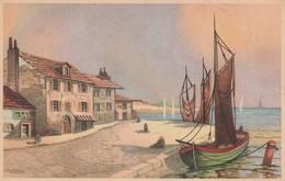 Rare Cpa Dessin Port De Pêche - Cartes Postales