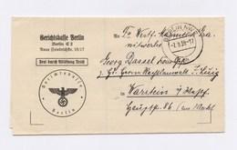"""DR Dienstbrief Gerichtskasse BERLIN > WARSTEIN """"Frei Durch Ablösung Reich"""" 1939 - Dienstpost"""