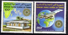 Comores P.A.  N° 180 / 81 X 25è Anniv. Du Rotary International, Les 2 Valeurs Trace De Charnière Sinon TB - Comores (1975-...)