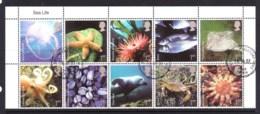 Great Britain 2007 Sea Life Block Of 10 CTO - Usati