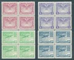 BOLIVIA - MNH/*** LUXE -1944 - REVOLUTION ANNIV. - Yv PA 73-76 Mi 378-381 - Lot 18462 - IN BLOC OF 4 - SPLENDID !!! - Bolivie