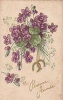 Carte Postale Ancienne Fantaisie - Fleurs - Violettes- Bonne Année - Fantaisies