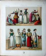 ITALIE ITALIA COSTUMES DECORATION 4 PLANCHES CHROMOLITHOS DOREES  COLOREES COSTUMES MILITAIRES FEMMES CIVILS 1888 - Lithographies