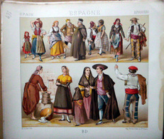 ESPAGNE SPAIN COSTUMES DECORATION 7 PLANCHES CHROMOLITHOS DOREES  COLOREES COSTUMES MILITAIRES FEMMES TAUROMACHIE 1888 - Lithographies