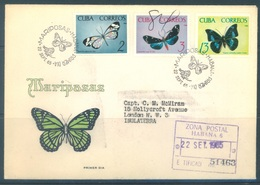 CUBA - FDC - 22.9.1965 - BUTTERFLIES - Yv 882 887 892 - Lot 18465 FROM HABANA TO LONDON - FDC