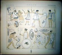 GRECE GREECE  COSTUMES DECORATION 10 PLANCHES CAMAIEUX ET CHROMOLITHOS DOREES COLOREES COSTUMES MILITAIRES FEMMES 1888 - Lithographies