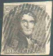 N°1 - Epaulette 10 Centimes Brune, Beau Coin De Feuille Sup. Droit, à Peine Touchée à Gauche Sinon TB Margée Et Voisin, - 1849 Epaulettes