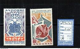 ANDORRE à CHARNIERE - N° 239 + 242 - Neufs