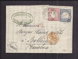 PLI LETTRE VERRERIES De CHATEAU SALINS MOSELLE Tàd 21 9 1874 PD Reichsland Elsaß Lothringen Vers Bollène - Alsace-Lorraine