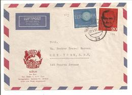 Berlin Böckler 20Pf Mi197 & Bund Europa 40Pf Mi339 Köln>USA - Briefe U. Dokumente