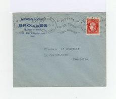 Sur Enveloppe Fabricant Dentelle Flamme Et CAD 1949 Du Puy En Velay Sur Centenaire Type Cérès 15 F. Rouge. (941) - Marcophilie (Lettres)