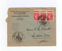 Sur Enveloppe Bloc De 3 Type Cérès De Mazelin 1 F. Rose Rouge Cachet Journée Du Timbre Lyon Juin 1946. (942) - Marcophilie (Lettres)