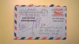 1954 BUSTA AEROGRAMME AEROGRAMMA AIR LETTER AIR MAIL ANNULLO NEW YORK PER ITALY ETICHETTA YOUR FUTURE - Interi Postali