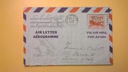 1957 BUSTA AEROGRAMME AEROGRAMMA AIR LETTER AIR MAIL ANNULLO HARTFORD PER ITALY - Interi Postali
