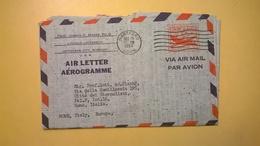 1958 BUSTA AEROGRAMME AEROGRAMMA AIR LETTER AIR MAIL ANNULLO HARTFORD PER ITALY - Interi Postali