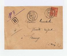 Sur Enveloppe Recommandé Type Sage 40 C. Oblitéré CAD Trévoux Ain 1901. (944) - Marcophilie (Lettres)
