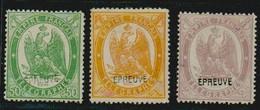 Frankreich France 1868 Télégraphie Yvert No 6b, 7b, 8b, Überdruck Surchargé ÉPREUVE, Signiert Signe BRUN, B/TB, 2 Scans - Telegraphie Und Telefon
