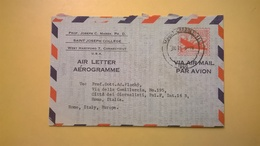 1960 BUSTA AEROGRAMME AEROGRAMMA AIR LETTER AIR MAIL ANNULLO MOURT CARROLI PER ITALY - Interi Postali
