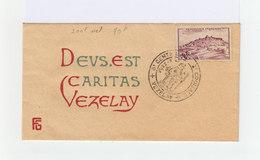 Sur Enveloppe 8è Centenaire Vezalay. Texte Deus Est Caritas Et Timbre Vezelay Cachet Commémoratif 1946. (946) - Marcophilie (Lettres)