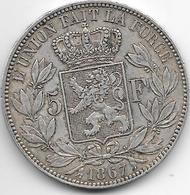 *belguim 5 Francs  Leopold II  1867  Vf+ - 1865-1909: Leopold II