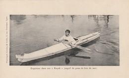 Rare Cpa Esquimaux Dans Son Kayak En Peau De Lion De Mer - Amérique